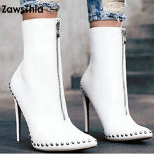 dd02939d35af7 ZawsThia PU point toe punk gothic woman extreme thin high heels shoes front  zipper white ankle boots studded rivet women booties