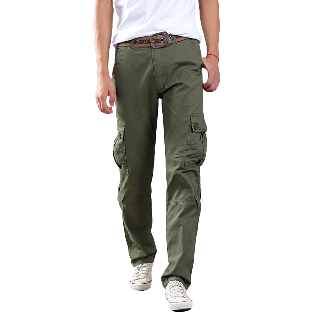 Mens Army Long Pant Combat Cotton Cargo Pants Military Solid Camo Trousers 4 Color Size 32-38 Loose More Pockets Safari Combat
