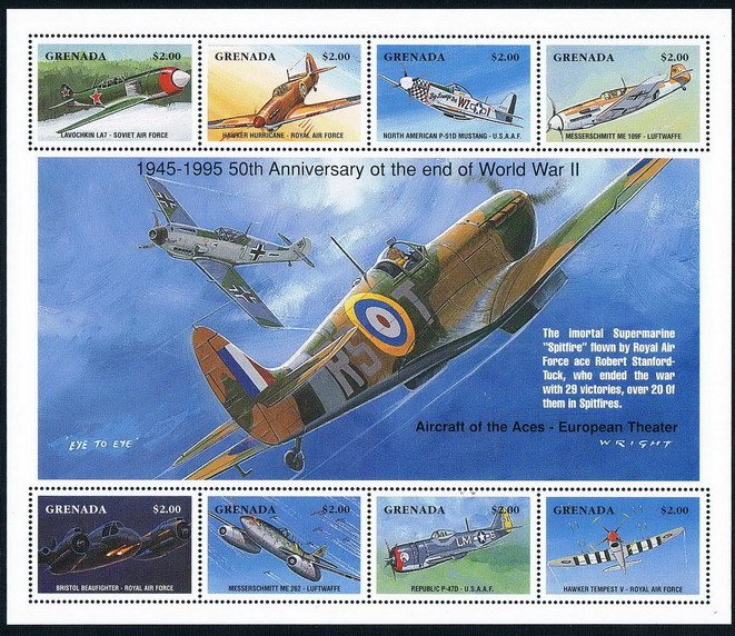 FA0519 Grenada 1995 World War II famous fighter 1MS NEW world war 1