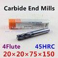 Новая 4 Флейта: 20 мм Фреза из вольфрамовой стали с ЧПУ фрезерные карбидные концевые фрезы высокая твердость резки: 45HRC 4F 20*20*75*150 мм
