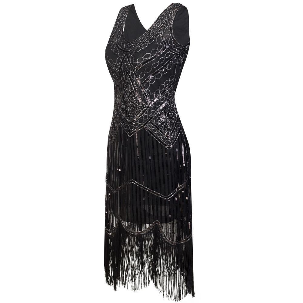 Women Party Dress Robe Femme 1920s Great Gatsby Flapper Sequin ... bda8ecf78850