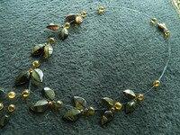Wholesale gift natural amazine Baltic Am ber long necklace shape leaf teardrop stone beads