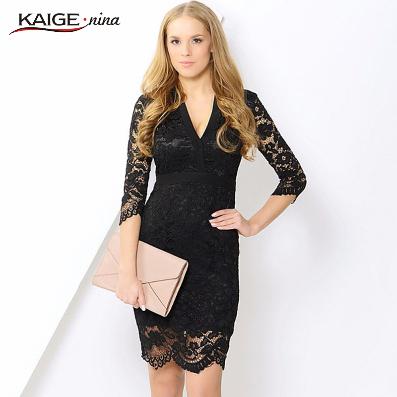Kaige.Nina New Women's Vestidos Sexy Printing Style 7 Minutes Sf Sleeve V-neck Lace Adornment Tight Knee-length Autumn Dress1608