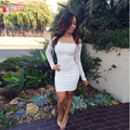 Sheath Long Sleeve Lace Homecoming Dresses Tight Short Prom Dress White Boat Neck Party Dress Women Foraml Gowns  Z281
