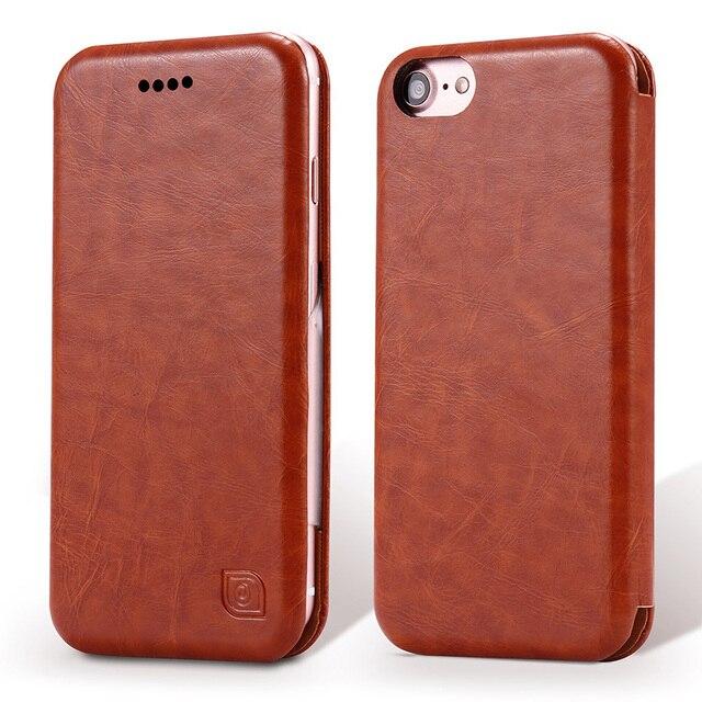 Luxo couro fino case para iphone 7 plus flip ultra fino capa case para iphone 6 s 6 plus 6 mais original phone case mulheres
