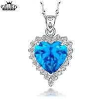 DELIEY Marka Klasik Kalp Okyanus Kolye Kadınlar Için 925 Ayar Gümüş Takı Kalp Mavi Kristal Kolye Kolye Kadın