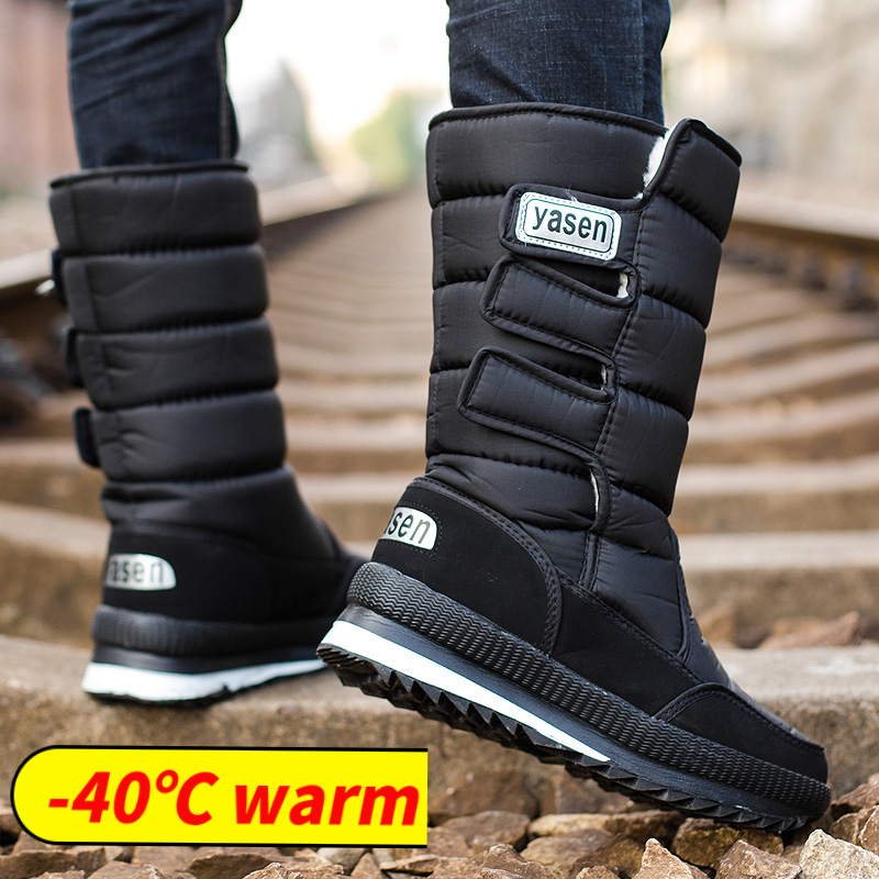 snow boots men waterproof mens winter boots With Fur winter shoes slip resistant Men Boots platform
