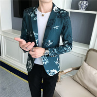 Mens Floral Blazer Male Terno Masculino Slim Fit 2019 Autumn Stylish Blazers for Men Blazers Para Hombre One Button Suit Jacket