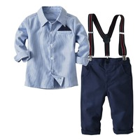 New Toddler Boys Clothing Sets Autumn Baby Boys Shirt Overalls 2Pcs Suit Formal Wedding Party Costume Cotton Kids Clothes.YO56B