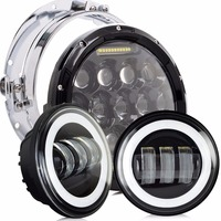 Headlight Harley Motorcycle Parts 7 LED Headlight + 4.5 4 1/2 inch Passing Lights For Harley Heritage Softail Classi