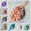 Baby Girl Christmas Gifts Rosette Satin Rose Flower Headband Shabby Chic Vintage Headband Rhinestone Pearl Button
