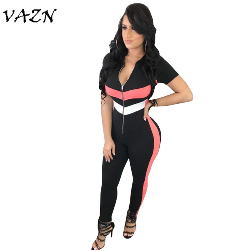 VAZN 2018 Hot Sale Elegant Fashion Style Casual Women Jumpsuits Striped Hooded Zipper Short Sleeve Bodycon Jumpsuits B9062