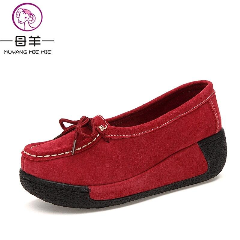 4207b41d13 MUYANG Chinês Marca de Moda Cunha de Salto Alto Mulheres Couro Genuíno  Sapatos de Plataforma Mulher Cunhas Mulheres Bombas Casuais