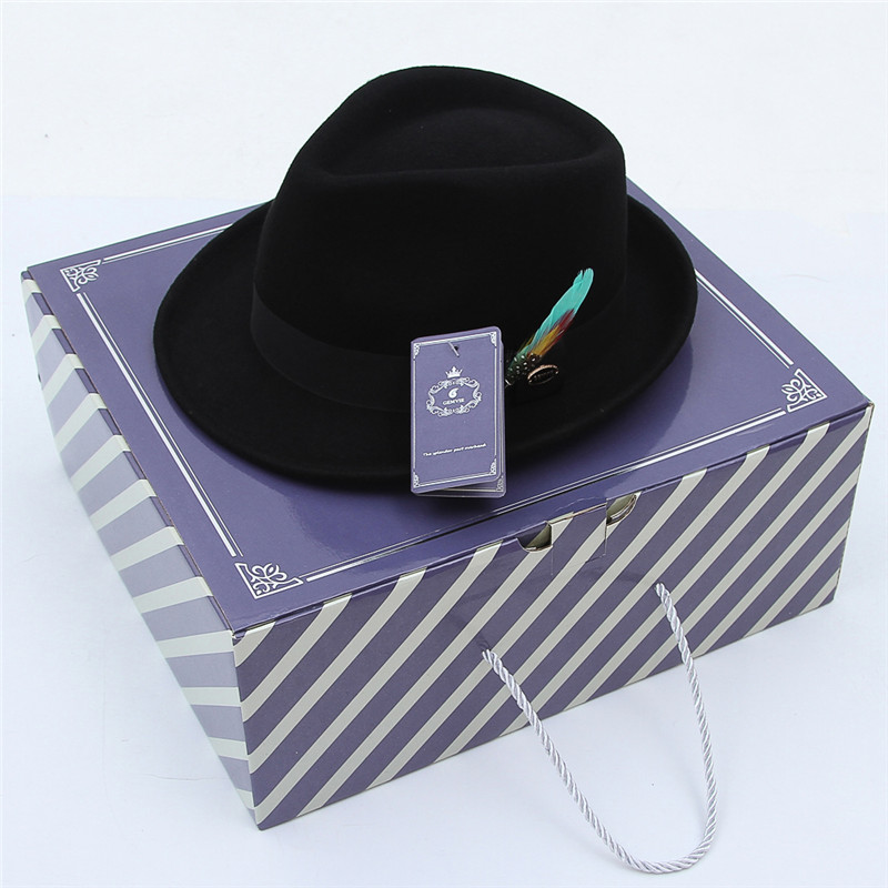 Image 5 - GEMVIE Men Women Trilby Feather Band Formal Fedora Hat Classical Curved Brim 100% Wool Jazz Hat Gentleman's Hat-in Men's Fedoras from Apparel Accessories
