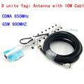 13 dBi 9 unidades Yagi Antenna 824-960 MHz Antena Externa Com 10 m Cabo Para GSM 900 MHz Sinal de Telefone Celular Repetidor de Sinal Booster