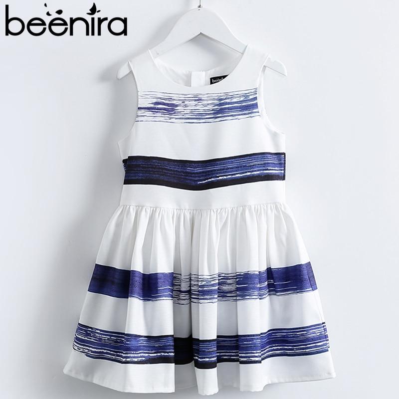 Beenira Girls Dresses 2019 New Fashion Style Sleeveless Princess Dress White Blue Striped Kids Dress Girls Summer 14Y Kids Dress