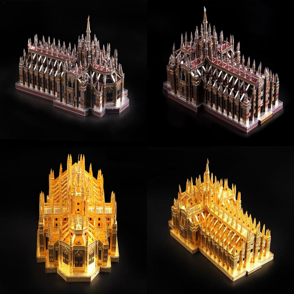 DIY Milan Grand Church Gold 3D Metal Puzzle Dimensional Model Assembled Learning Educational Games Toys for Children Jigsaw toys children best gift fashion sex red color diy metal supper car assembled model toys