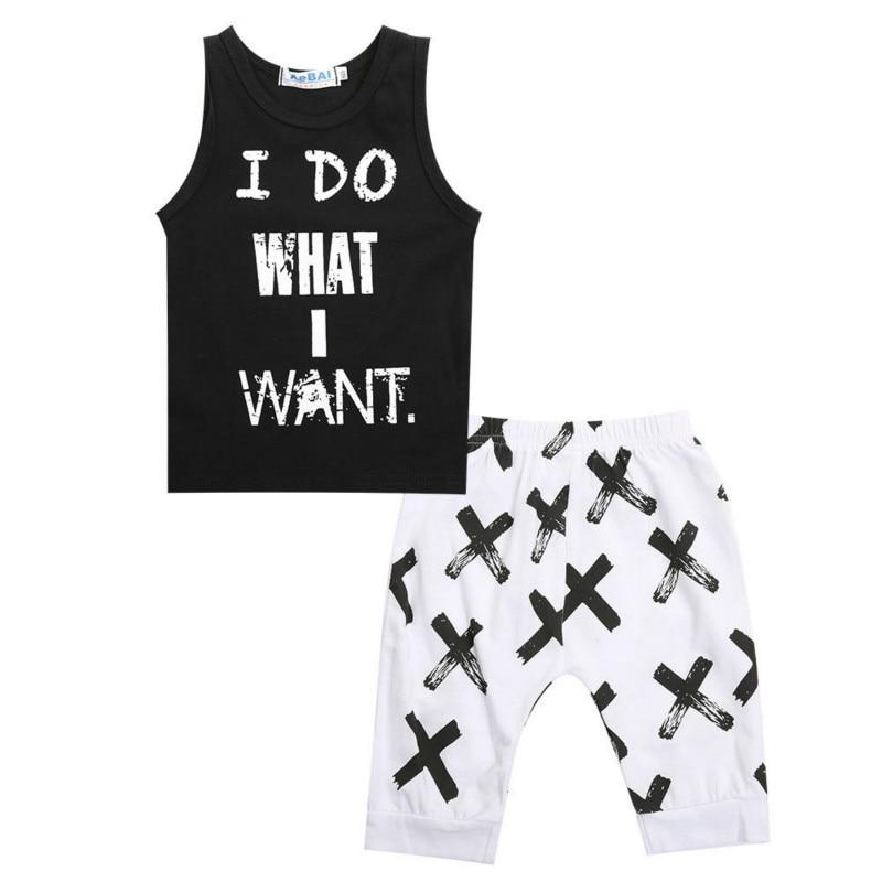 Лидер продаж Летняя одежда для малышей Одежда для мальчиков майки-топы без рукавов крест Шорты для женщин 2 шт. модная одежда классный компл...