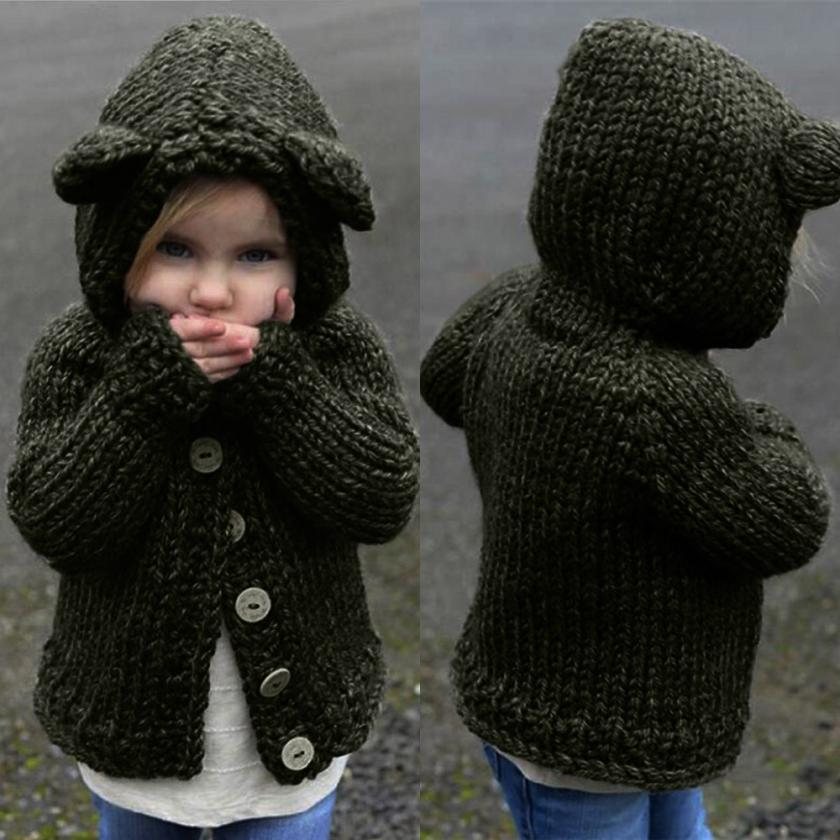 Child Kids Baby Girls Solid Hooded Knitted Sweater Cardigan Coat Clothes Soft