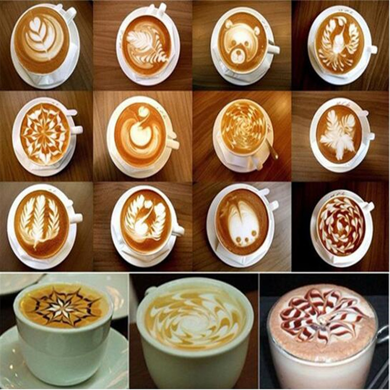 16 Pcs Set Coffee Drawing Cappuccino Mold Fancy Natie