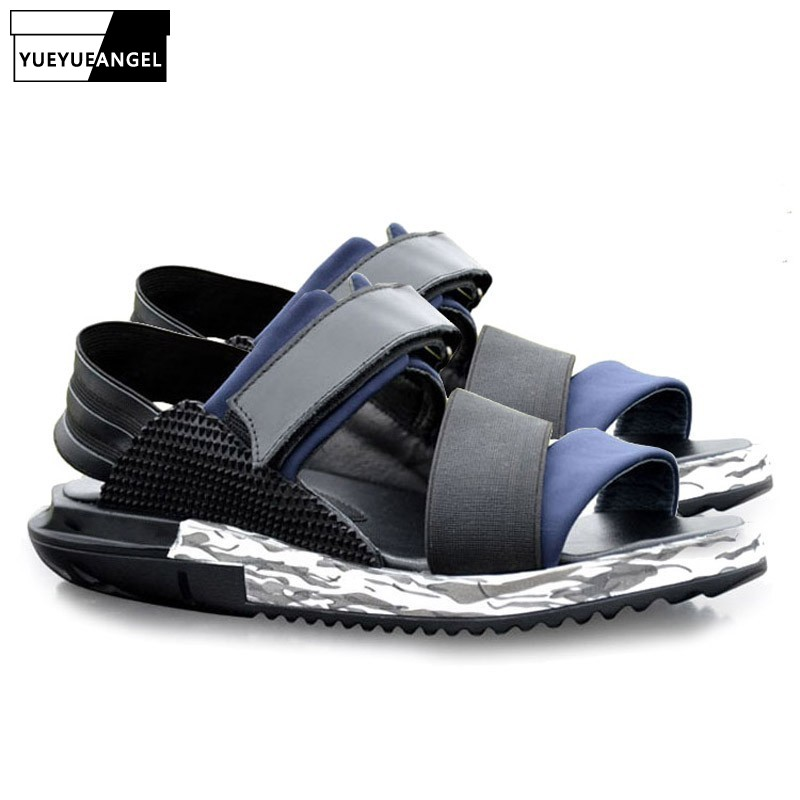 Top Brand 2019 New Harajuku Thick Platform Mens Sandals Beach Holiday Genuine Leather Casual Flats Slippers Big Size 37-46 ShoesTop Brand 2019 New Harajuku Thick Platform Mens Sandals Beach Holiday Genuine Leather Casual Flats Slippers Big Size 37-46 Shoes