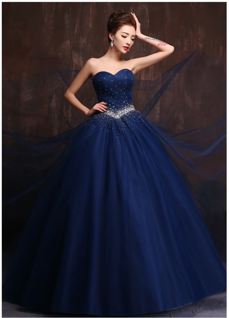 Custom made color and size vestidos de noiva royal blue for Navy blue dresses for weddings