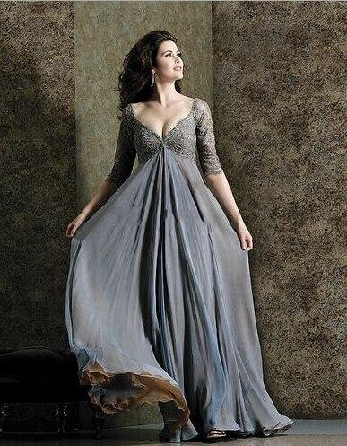 Plus Size A line Party Gowns V-neck Half Sleeves Chiffon Floor Length Ruffles Empire Waist   Bridesmaid     Dresses