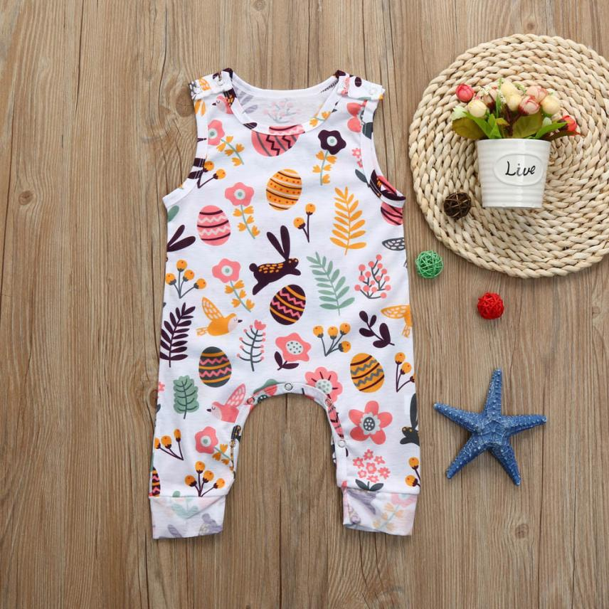 3-18M Summer Newborn Infant Baby Boys Girls Easter Eggs Cartoon Print Sleeveless Romper O-neck Jumpsuit Clothes Outfits newborn baby backless floral jumpsuit infant girls romper sleeveless outfit