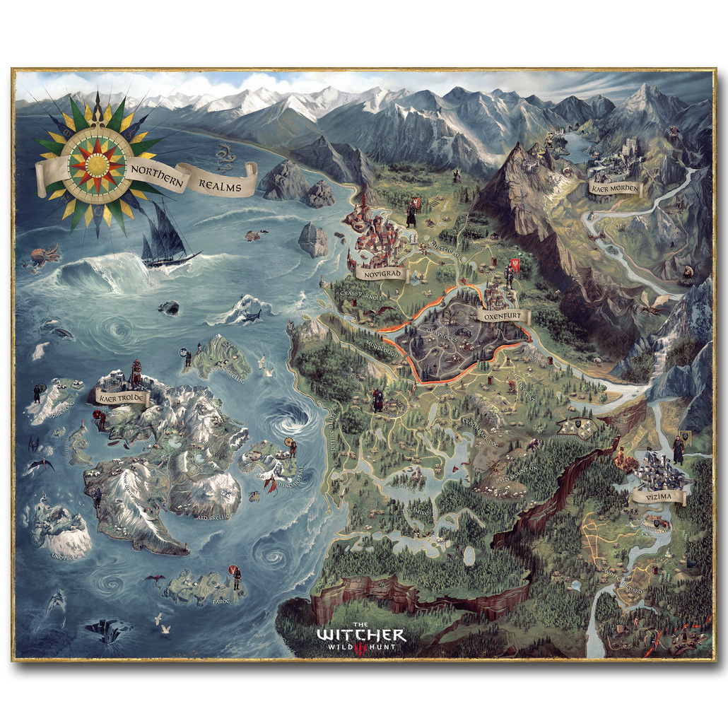 El mapa de Witcher 3 Wild Hunt Art Silk Poster Huge Pritn 23x20 32x38 - Decoración del hogar