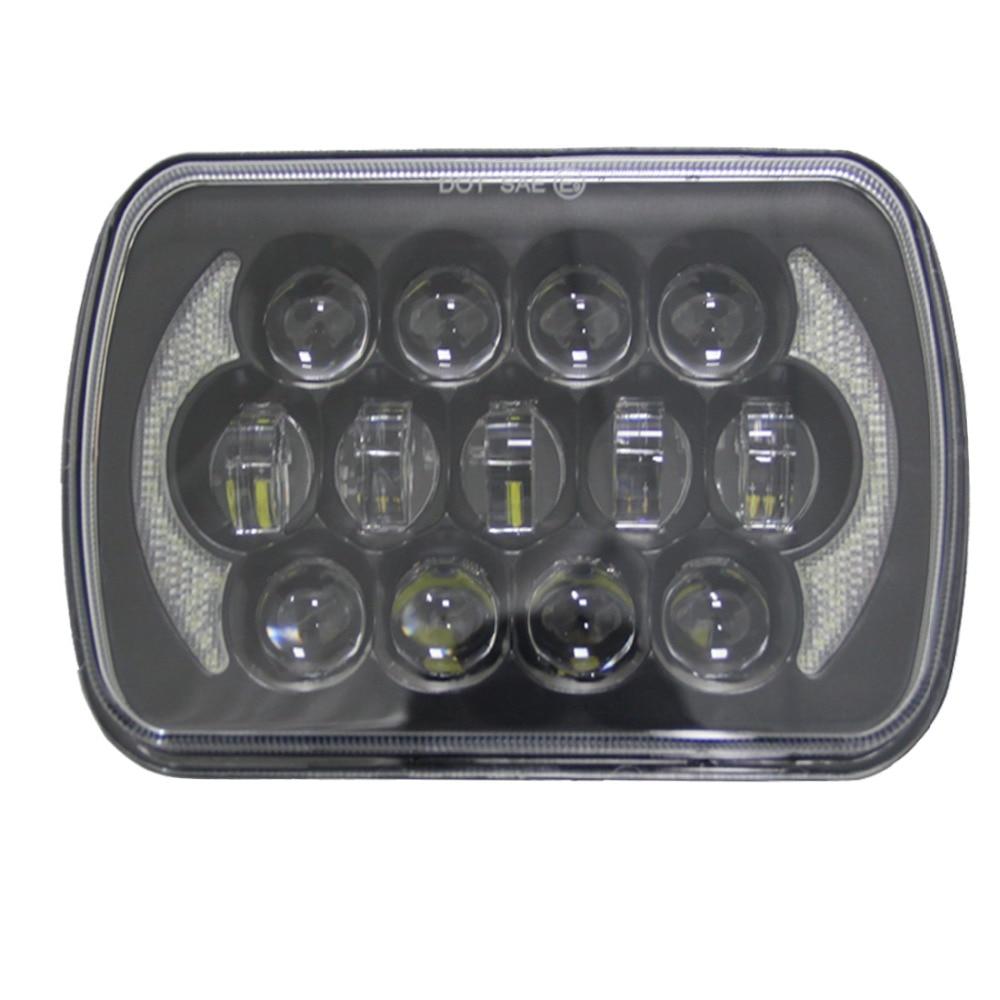 a pair square 5x7 Inch led headlight Daymaker trucklight High Low Beam Headlamp for Jeep Wrangler YJ Cherokee XJ(Black) 1set 7inch headlight led with high low beam new replacement 30w daymaker headlamp for jeep wrangler