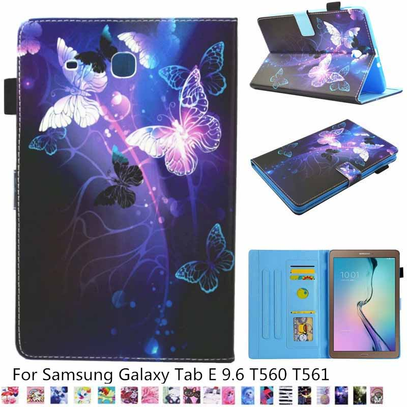 Case For Samsung Galaxy Tab E 9.6 T560 T561 Case Cartoon Unicorn Pu Leather Wallet Stand Cover For Samsung T561 T560 Case + Pen