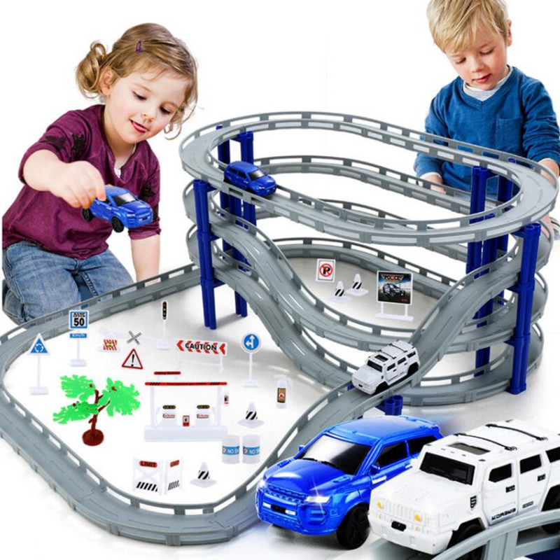 MylitDear Electric Racing Rail Car Kids Train Track Model Toy Railway Track Racing Road Transportation Building Slot Sets Toys