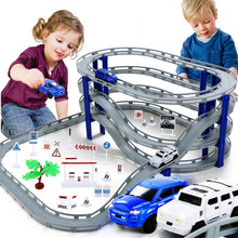 MylitDear Electric Racing Rail Car Kids Train Track Model Legetøj Railway Track Racing Road Transport Building Slot Sets Legetøj
