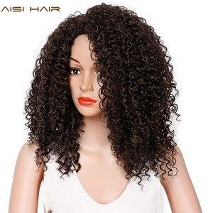 Image 4 - Волосы AISI, 16 дюймов, темно коричневые, афро, курчавые, синтетический парик для женщин, термостойкие, африканские, пушистые волосы, парики