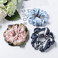 1PC Blue Flower Fashion Headband Scrunchies Elastics Soft Stretchy Hair Rope Ponytail Hair Bands Holder Hair Accessories(China)