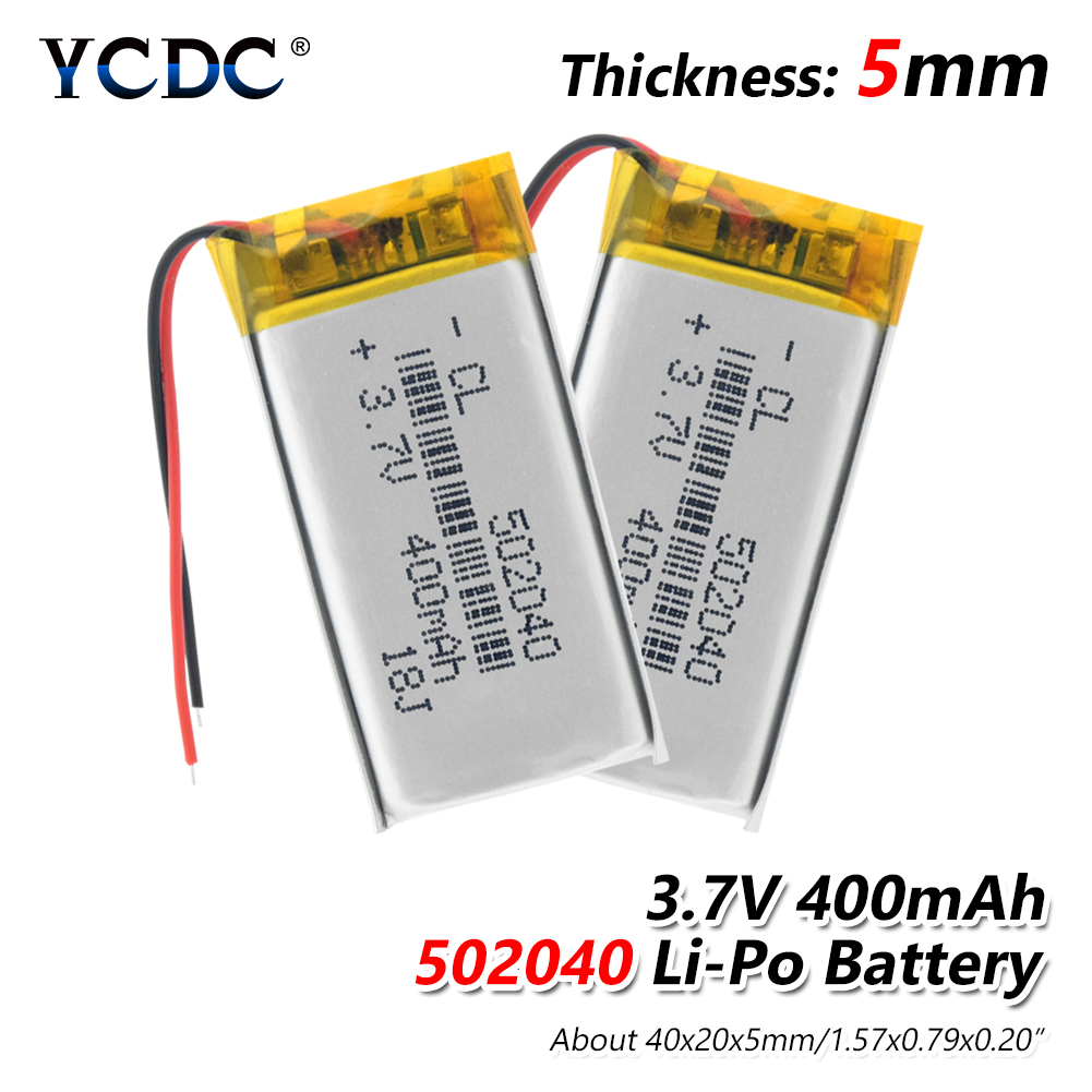 1/2/4 Pcs <font><b>3.7V</b></font> 502040 <font><b>400mAh</b></font> Li-ion <font><b>Battery</b></font> Rechargeable <font><b>400mAh</b></font> Lithium Polymer <font><b>Battery</b></font> For Mp3 Mp4 Gps Driving Recorder Toy image