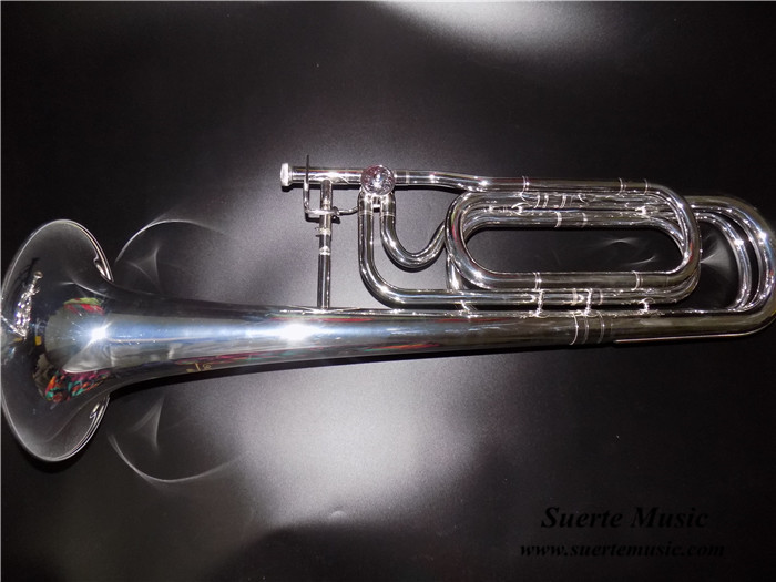 F/Bb Double slide Trombone Silver plated Bell 236.5mm with Case and mouthpiece musical instruments professional oem bb f tenor slide trombone brass body with case and mouthpiece musical instruments