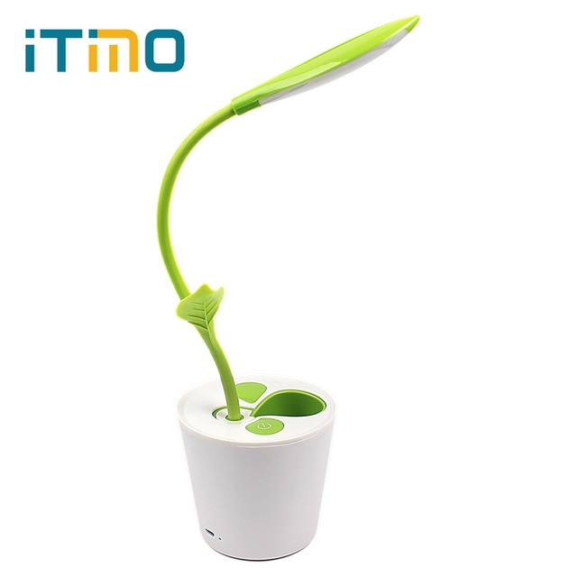 iTimo Touch-sensitive Switch LED Table Light Dimmable Desk Lamp 3 Level of Brightness with Sapling Pen Holder USB Charging