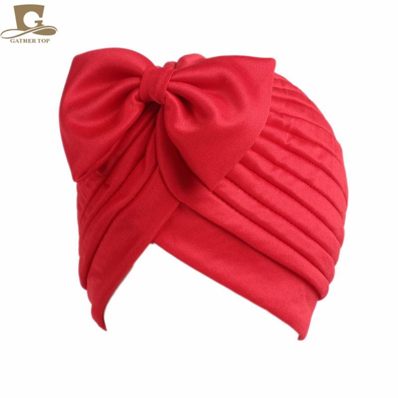 2017 Nieuwe mode vrouwen boog strik ruche tulband vrouwen haar cap - Kledingaccessoires - Foto 3