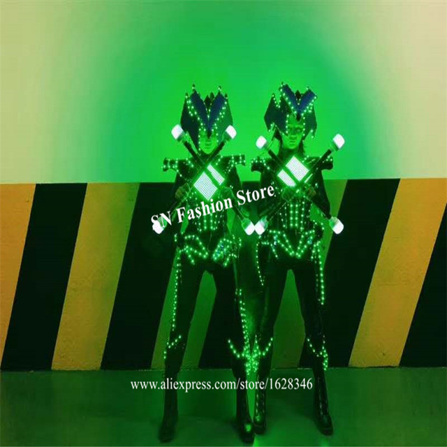 M29 Party performance wears armor suit led robot display costumes colorful light mirror clothe club show outfits helmets disco