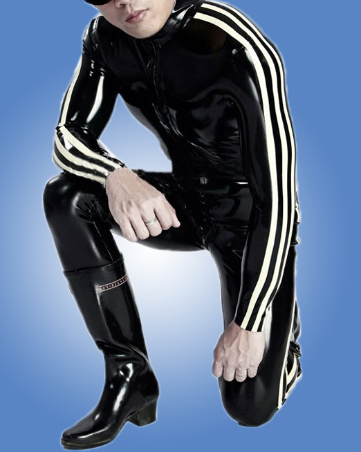 New Fashion Men Rubber Catsuit Latex Fetish Sexy Black Latex Male Bodysuit With 3 White Strips