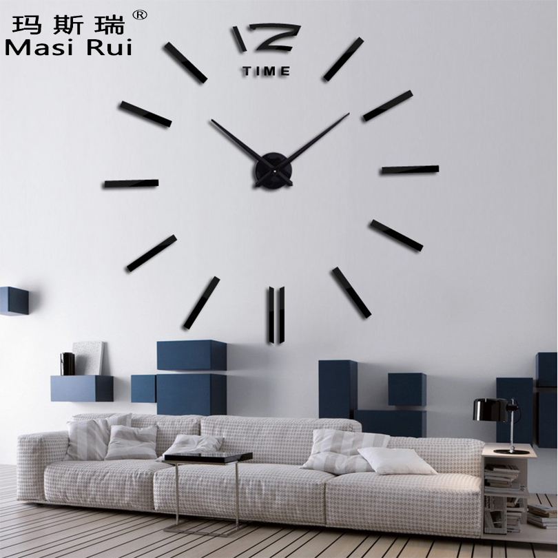 2017 new home decor big wall clock modern design living room quartz metal decorative designer. Black Bedroom Furniture Sets. Home Design Ideas