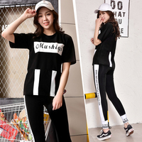Workout Leggings Set Women Sportswear Jumpsuit 3 Pieces Yoga Suit Plus Size Solid Letters Running Gym Fitness Clothing M 3XL