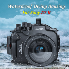 Seafrogs for Sony A7R II / A7S II 40m/130ft Meikon Underwater Camera Housing Inbuilt Leak Detection Sensor Synchro Cable Port meikon 40m 130ft waterproof housing case for sony a7 iii a7r iii a9 a7s ii a7ii a7r ii a7m3 camera wire angle dome port