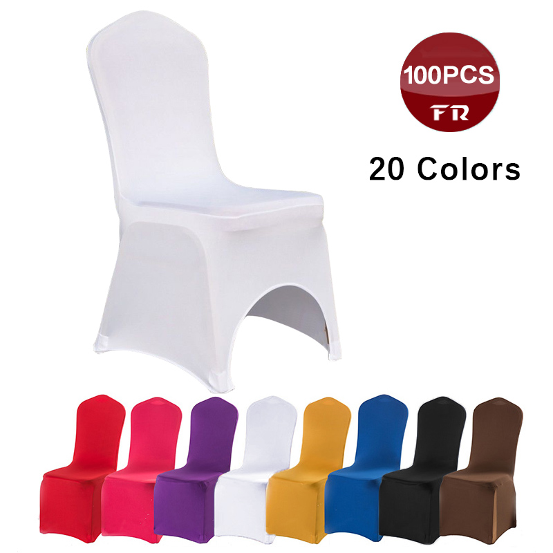 Ship Free 100PCS Universal White Stretch Spandex Lycra Decor Chair Covers for Wedding Party Banquet Hotel