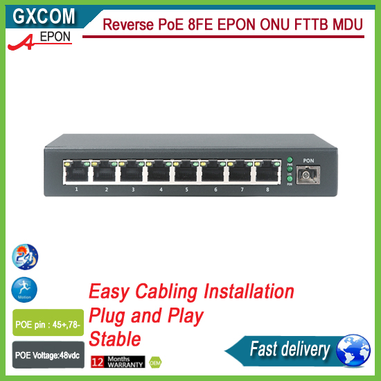 Reverse PoE ONU 8FE outdoor application surge protection water protection IP65 RPOE EPON ONU цена и фото