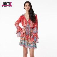 Jastie Gypsy Collective Lotus Playdress Ruby Mini Dress Boho Style Short Dress V Neck Flare Sleeve