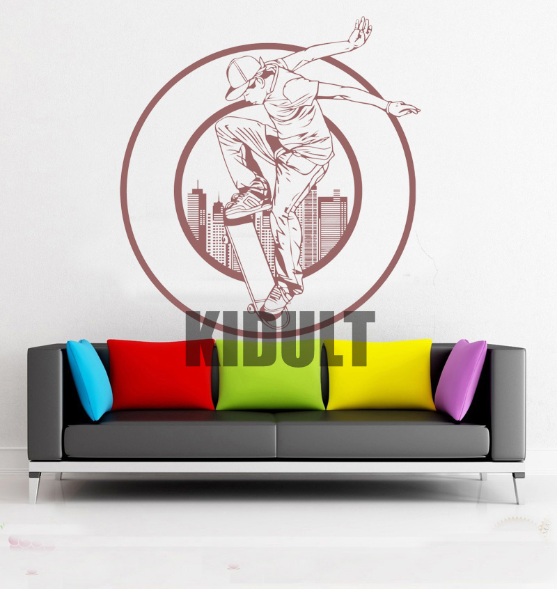 Creative Wall Decals Skateboarding Skateboard Figure