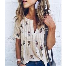 MAYFULL women short sleeve v-neck t-shirts Printed  fashion new