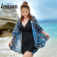 3XL 6XL Large Size Swimsuit Print Bikini Set Swimwear Women Plus Size Long Sleeve Cover Up Skirt Female Bathing Swimming Suit